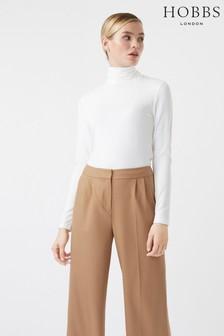 Hobbs White Mischa Roll Neck Jumper