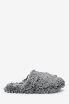 Textured Faux Fur Mule Slippers