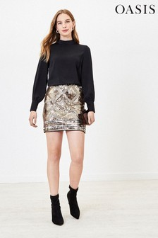Oasis Bronze Sequin Mini Skirt