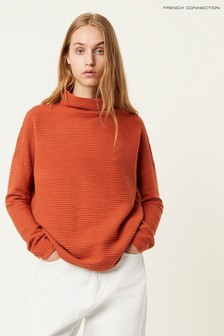 French Connection Orange Lena High Neck Jumper