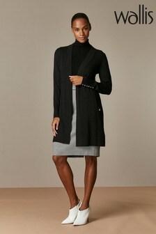 Wallis Black Wool Longline Cardigan