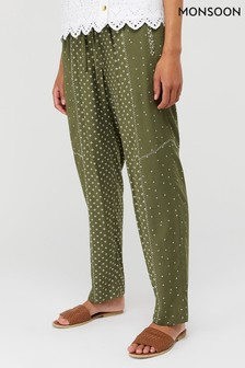 Monsoon Khaki Darcy Printed Trousers
