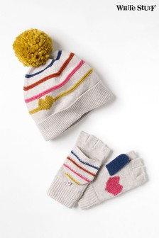 White Stuff White Kids Heart & Stripe Hat & Mitts Set