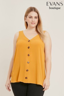 Evans Yellow Curve Button Camisole Top