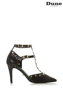 Dune London Clea Black Synthetic Studded High Heel Court Shoes