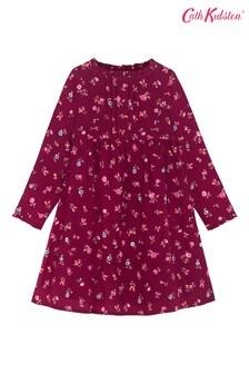 Cath Kidston® Purple Somerset Spray Girls Frill Pintuck Dress