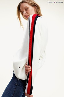 Tommy Hilfiger White Side Stripe Mock Neck Sweater