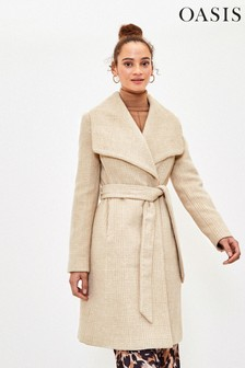 Oasis Natural Check Wrap Coat