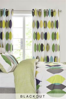 Overlapping Leaf Blackout Lined Eyelet Curtains