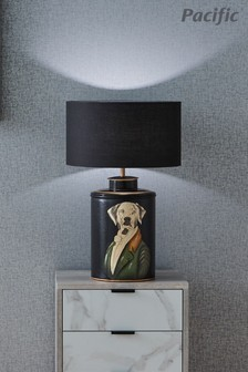 Pointer Black Hand Painted Dog Table Lamp by Pacific Lifestyle