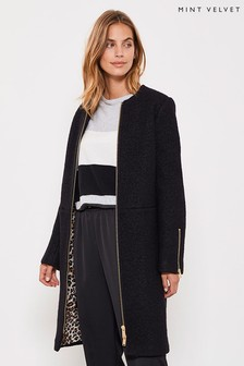 Mint Velvet Black Collarless Bouclé Coat
