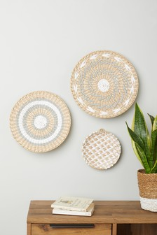 Set of 3 Woven Hanging Bowls