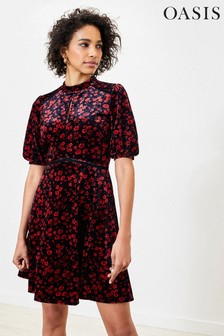 Oasis Black Ditsy Floral Velvet Dress