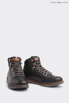 Tommy Hilfiger Black Outdoor Hiking Leather Boots