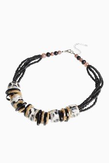 Zebra Effect Beaded Statement Necklace