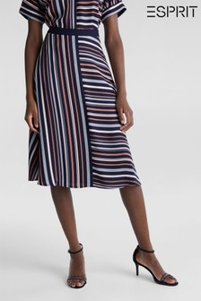 Esprit Blue Knitted Skirt With Stripes