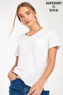 Superdry White V-Neck Pocket T-Shirt