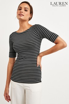 Lauren Ralph Lauren® Grey/Silver Sparkle Stripe Judy Top