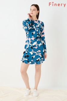 Finery London Blue Finchley Printed Mini Dress