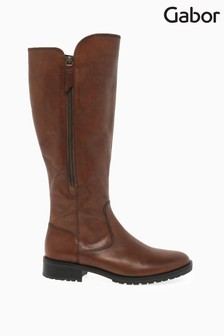 Gabor Brown Texas Leather Large Calf Width Fit Long Leg Boots