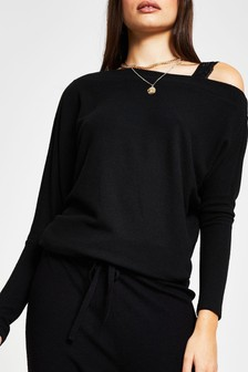 River Island Black One Shoulder Lace Strap Sweat Top
