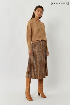Warehouse Animal Pleated Faux Leather Skirt