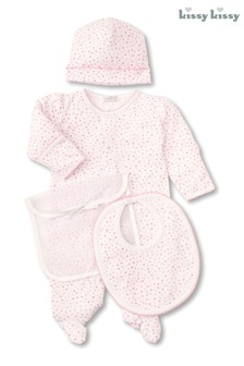 Kissy Kissy White With Pink Hearts Print 3 Piece Gift Set