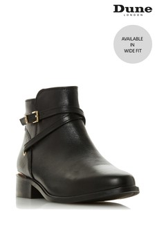 Dune London Wide Fit Black Peper Trim Low Boots
