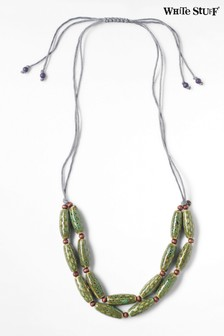 White Stuff Green Tubular Ceramic Necklace