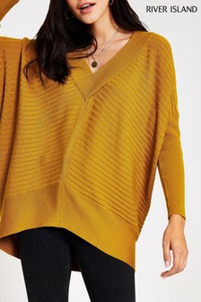 River Island Ochre Belle V-Neck Jumper