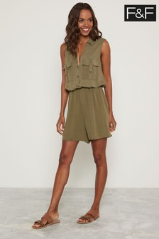 F&F Khaki Button Through Utility Playsuit