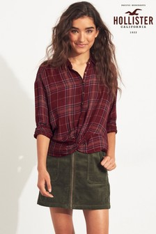Hollister Burgundy Plaid Shirt