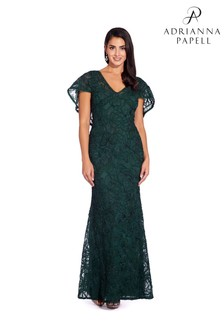 Adrianna Papell Green Soutache Cape Gown