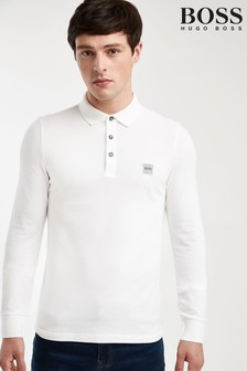 BOSS White Passerby Long Sleeve Poloshirt