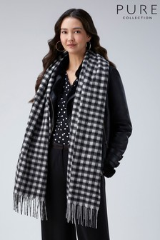 Pure Collection Black Soft Blanket Scarf