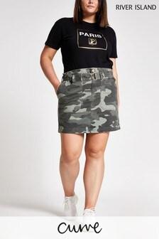 River Island Camo Pandora Paperbag Skirt