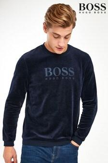 BOSS Velour Crew Neck Logo Sweatshirt