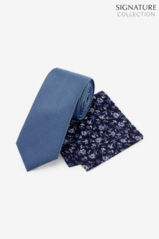 Signature Tie With Pocket Square Set