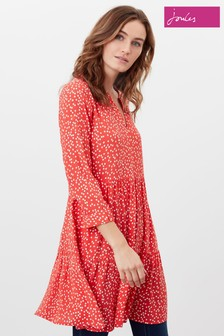 Joules Red Cosima Tiered Tunic