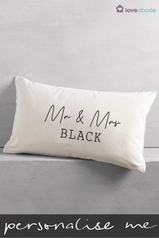 Personalised Mr & Mrs Rectangle Cushion by Loveabode