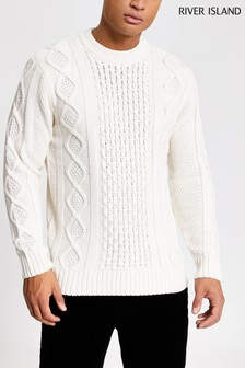River Island Cable Crew Sweater