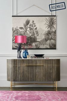 Piano Mango Wood and Marble Large Sideboard