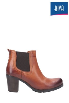 Riva Brown Elva Leather Ankle Boots