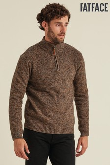 FatFace Brown Wilton Half Neck Jumper