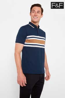 F&F Navy Colourblock Tobacco Polo