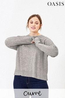 Oasis Grey Curve Melange Jumper