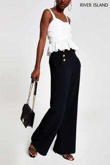 River Island Black Button Wide Leg Trousers