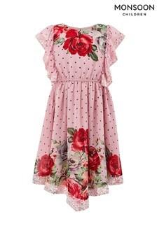 Monsoon Children Pink Magical Spotty Rose Dress