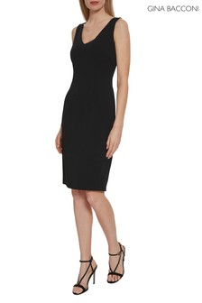 Gina Bacconi Black Merna Crepe Shift Dress