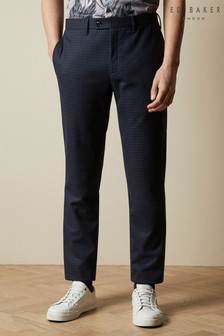 Ted Baker Navy Corntro Micro Check Trousers